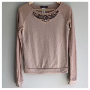 Chi has happens beaded blush pink top